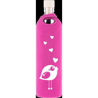 Botella de vidrio neo design pajarita enamorada - Flaska