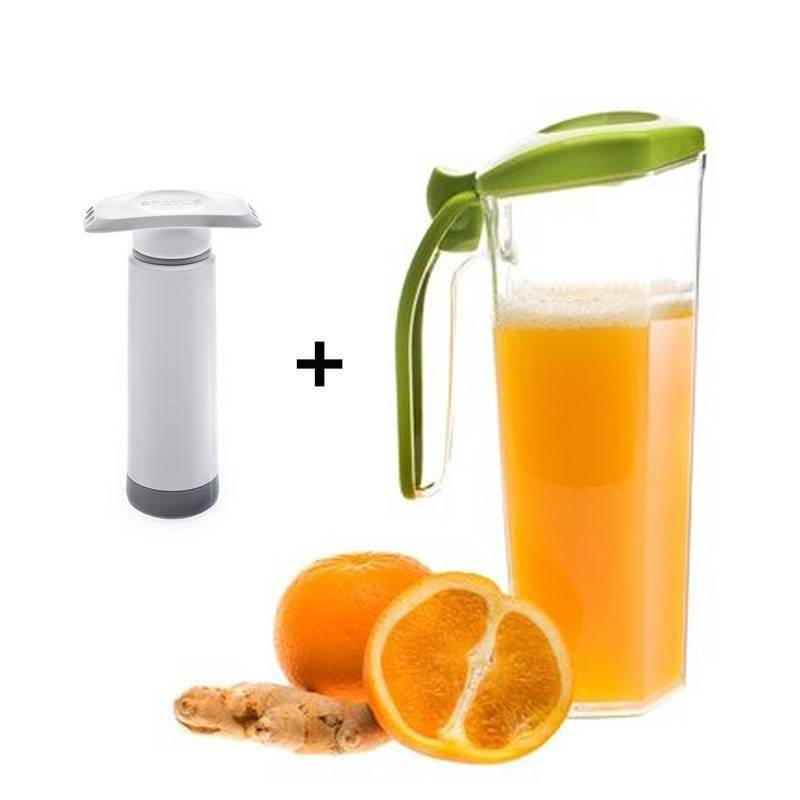 Jarra para zumos al vacio + bomba de vacio manual - Ecovidasolar