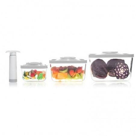 Pack de 4 piezas Recipientes de vidrio de borosilicato rectangular al vacío - Status