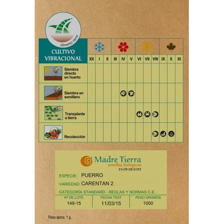 Semillas ecológicas de  puerro - Madre tierra- Ecovidasolar