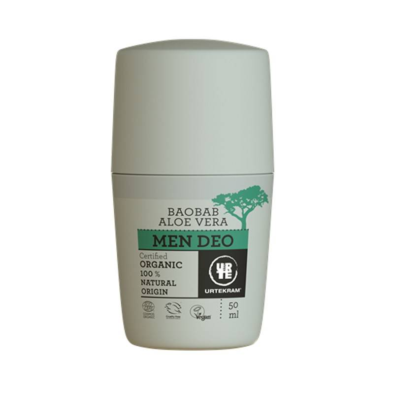 Desodorante roll-on de aloe vera y baobab men - URTEKRAM - Ecovidasolar