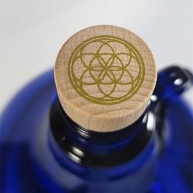 tapón de madera de la garrafa azul de vidrio de murano